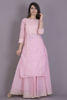 Baby pink kurta skirt set emblisshed with gota work.Buy Baby Pink Kurta Skirt Set for Women Online in India Pakistani Dresses Casual, Indian Fashion Dresses, Dress Indian Style, Pakistani Dress Design, Indian Designer Outfits, Ethnic Fashion, Indian Wear, Simple Kurti Designs, Stylish Dress Designs