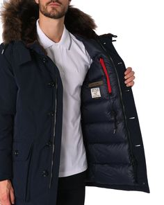 Down Jackets - MUSEUM - Arctic Parka Navy Fur Long Down Jacket with Large Collar MUSEUM for men, All Men's Fashion and Clothing is available to buy on Menlook.com - Over 250 brands to discover