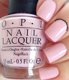 "opi Polly Want A Lacquer?"" BAMA NAILS 222 a lilac purple nail shade from the OPI Fiji collection Pastel Pink Nails, Dark Pink Nails, Purple Nail Polish, Colorful Nails, Matte Pink, Coral Pink Nails, Lilac Nails Design, Purple Pedicure, Pink Gel Nails"