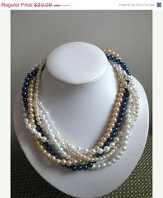 ON SALE Wedding Pearl Necklace, White, Gold and Navy Blue Pearl Necklace, Multi strand Necklace, Wedding Jewelry, Bridal Jewelry. $24.65, via Etsy.