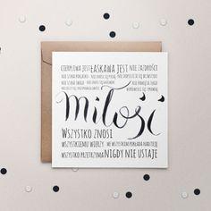 """**Zaproszenia ślubne Miłość* to zaproszenia nowoczesne i subtelne. Na okładce znajduje się drukowany wcześniej ręcznie stworzony napis """"miłość"""" oraz cytat z I Listu do Koryntian. Wewnątrz zamieścić..."""
