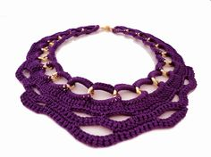 Purple Summer Fashion Crochet Collar Bib Necklace by ChichiKnots, $42.00