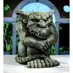 "When you're ready to tell the world to ""take a hike,"" join artist Gary Chang's newest gargoyle in a little decompression session! Full of pent-up anger, this menacing gargoyle will echo your misspent passion with scowling lip and furrowed brow."