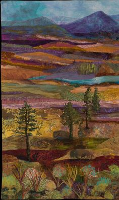 Yellowstone Revisited by Susan Strickland.  Landscape art quilt, 2013. The Art Quilt Association.