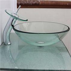 Modern Waschbecken Rund Glas Aufsatz Waschschale mit Wasserfall ... | {Waschbecken rund glas 37}