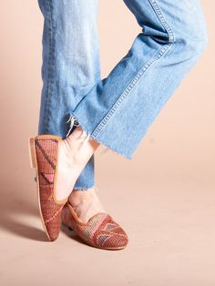 Our Turkish kilim rug loafers are one of a kind. Handmade with a wool upper, leather lining/interior and a inch raise. Loafer Mules, Heeled Mules, Loafers, Turkish Kilim Rugs, Sale Items, Hand Weaving, Espadrilles, Pairs, Heels