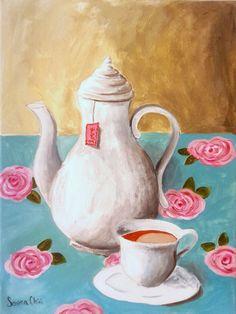 SHIPPING FREE Original acrylic painting  Love Tea by serenachini, $120.00