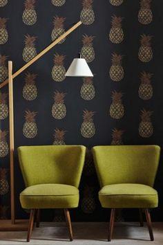 Barneby Gates Wallpaper - Pineapple - Charcoal