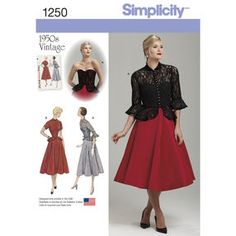 Simplicity Pattern 1250 Misses' Vintage 1950s One-Piece Dress and Jacket