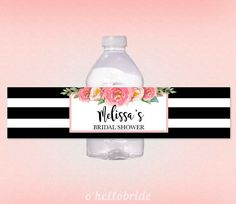 Printable Personalized Bridal Shower Water Bottle Labels - Black White Stripes Pink Floral Personalized Water Bottle Labels - 019