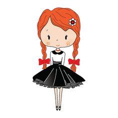 Cute little girl. Beautiful princess Toy isolated on white background - ilustração de arte em vetor