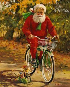 Off season - Artist Tom Browning   Ontario, Oregon, 1949.  I like this artist's rendering of Santa  .