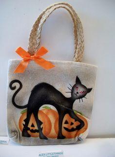 Black Cat Pumpkins Tote Bag Halloween Decor