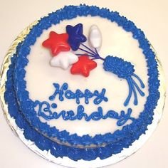 Red, White, and Blue Star Raspberry Decorated Cake