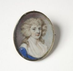 Painted miniature portrait of Mrs. Elkaleh (Joyce) Myers-Cohen Myers by Edward Greene Malbone, with pin back and jumpring for hanging from a chain. National Museum of American Jewish History, 1986.42.51