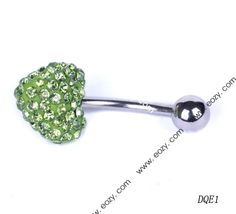 $23.88 24mm Green Heart Navel Nail Belly Button Bar Ring Crystal Body Piercing Art #BodyJewelry #eozy