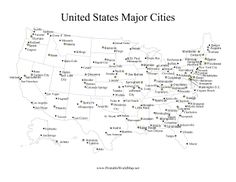 Capital Cities Of Each State Are Tagged With A Yellow Star While Major Cities Have United States Mapcapital