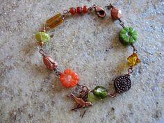 Bohemian Beaded Charm Bracelet Modern Vintage Copper by gardendiva, $29.00