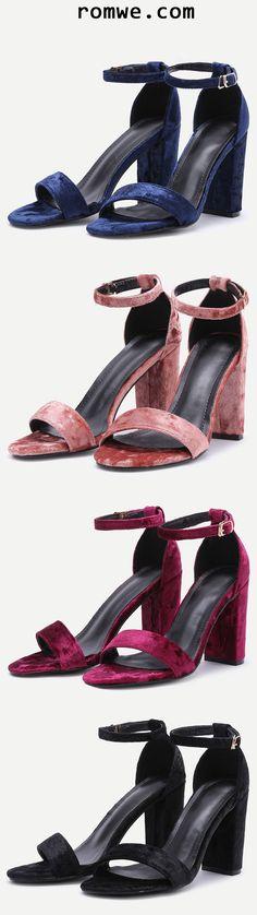 Velvet Peep Toe High Heel Mary Jane Shoes