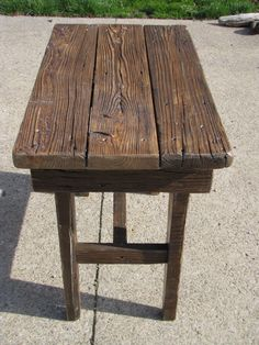 Reclaimed deck board end table