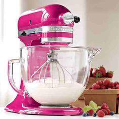 Hot bright Fuscia Kitchenaid Mixer, how fun! I'd never stop cooking & baking!