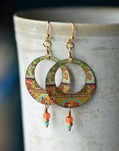Vintage Tin Hoop Earrings Floral Boho Chic by EntwyneDesigns