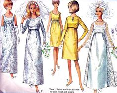Vintage 1960s Simplicity 6759 wedding dress with detachable train or evening gown in 2 lengths with jacket. The sleeveless empire dress has back