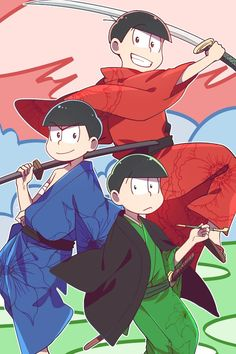 Oso, Kara and Choro - Samurai Would this really be samurai thought? Or just them with katanas? Osomatsu San Doujinshi, Funny Scenes, Ichimatsu, Story Inspiration, Artist Names, Anime Style, Me Me Me Anime, Drawing Reference, Vocaloid