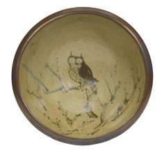 BERNARD LEACH 1887-1979 BOWL WITH OWL DESIGN stamped with Leach Pottery seal twice and signed with initials, stoneware with brushed design height: 12.5cm diameter: 31cm, Executed circa 1950s.