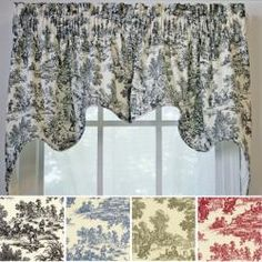 @Overstock.com - Ellis Victoria Park 2-piece Swag Empress Valance - Add a bit of French flair to your space by hanging up this toile swag valance. Choose the toile pattern in one of four colors for a look that easily complements a room with white or muted walls. Each two-piece valance is fully lined to resist fading.  http://www.overstock.com/Home-Garden/Ellis-Victoria-Park-2-piece-Swag-Empress-Valance/5658595/product.html?CID=214117 CAD              58.44