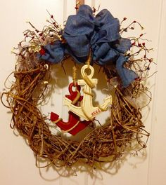Coast Guard wreath created with grapevine from my backyard and nautical items from JoAnns