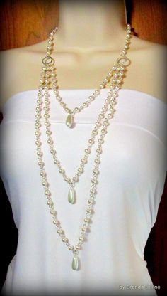 Long and Elegant Three Strand Pearl Necklace by byBrendaElaine