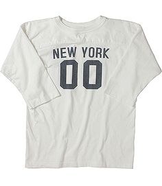 """Champion Made In USA Reverse Weave """"New York 00"""" Print Football Tee"""