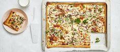 Vegetable Pizza, Quiche, Menu, Vegetables, Breakfast, Food, Menu Board Design, Morning Coffee, Vegetable Recipes