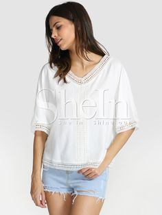 Shop White Short Sleeve With Lace Blouse online. SheIn offers White Short Sleeve With Lace Blouse & more to fit your fashionable needs.