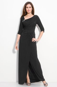 Adrianna Papell Jersey Gown with Jeweled Brooch available at #Nordstrom