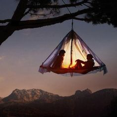 This is a climbing tent made by Black Diamond Mountaineering. Designed to be anchored to the sine of a cliff during your ascent. But I want on for this reason so I can sleep hanging from the trees