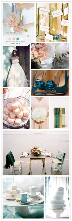 blush pink, dove grey, teal, white  I like the muted teal/aqua in the other palette better but the blush in this one