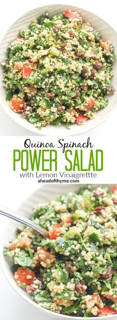 Quinoa Spinach Power Salad with Lemon Vinaigrette: Take a bite into this refreshing, gluten-free quinoa and spinach salad bursting with colourful tomatoes, cucumbers and raisins | http://aheadofthyme.com