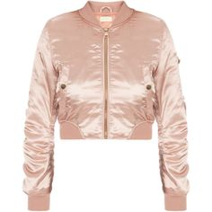 DASH Bossa Bad Bitch Bomber ($129) ❤ liked on Polyvore featuring outerwear, jackets, bomber jacket, zipper jacket, pink satin jacket, bomber style jacket and pink cropped jacket