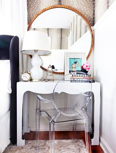 IF YOU HAVE: A nightstand SWAP IT FOR: A petite vanity  Read more: 9 Stylish Swaps That'll Make Your Bedroom Feel New Again