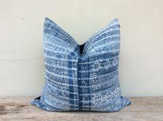 "Vintage Ethnic Hmong Homespun Organic Hemp Batik Hand Woven Pillow Case 20"" x 20"""
