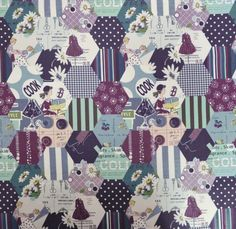 SZ826379 in Purple and Black Designed by Suzuko Koseki from | Etsy Laura Heine, Jaybird Quilts, Purple Quilts, Half Square Triangle Quilts, Hexagon Quilt, Leftover Fabric, Purple And Black, Tea Party, Quilt Patterns