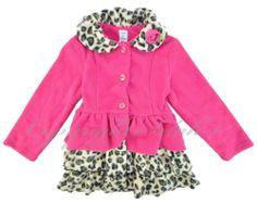 New girls Mack & Co fleece Animal Cheetah Print PINK Jacket Ruffles gift Size 3T
