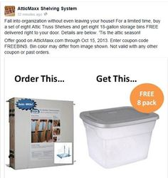 Attic need to get organized? @AtticMaxx Shelving System is offering Free Bins with purchase of their attic shelving system through Oct. 15.