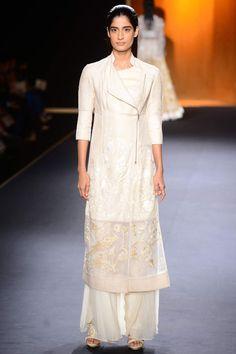 Ivory chintz silk parrot jacket kurta set by Rahul Mishra #rahulmishra #aicw #aicw2015