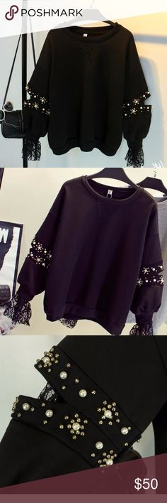 Black Sweatshirt with Lace Sleeves Sweatshirt with lace sleeves and beads.  Size: one size fits all Sweatshirt length - 61 cm / 24 in Sleeve length - 36 cm / 14 in Chest - suitable till 112 cm / 44 in Tops Sweatshirts & Hoodies