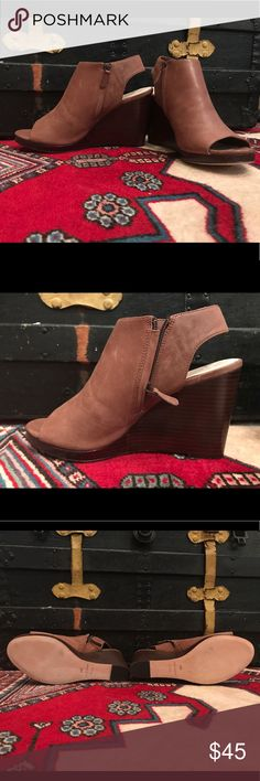 NWOT Cole Haan Leather Wedges 👠 NWOT Upper Leather Harvest Brown Wedges; never worn, non-smoking home; see pic for specifics Cole Haan Shoes Wedges