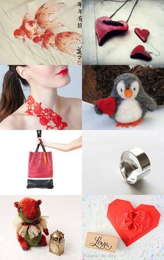 red kingyo by Japan Momiji designs on Etsy--Pinned with TreasuryPin.com #gifts #handmade #treasury #shopsmallbiz #sales #love #uniquegifts #jewelry #necklaces #earrings #jewelryset #set #poylmerclay #heart #red