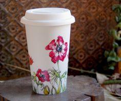 White Ceramic Travel Mug Double Walled Porcelain with Lid - Anemonies, Botanical Collection. $45.00, via Etsy.